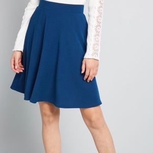 ModCloth - Chic Cooperation Mini Skirt - Blue